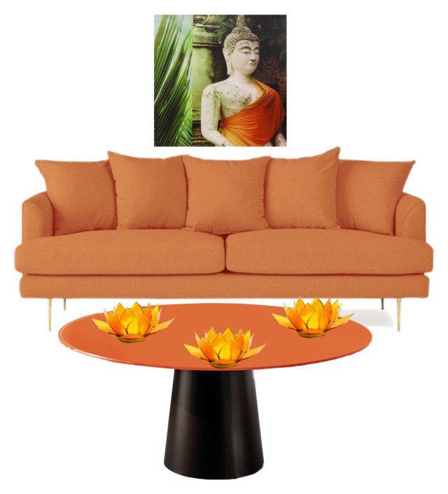 """orange furniture"" by shejustwantstobebeautiful ❤ liked on Polyvore featuring interior, interiors, interior design, home, home decor, interior decorating and Joybird"