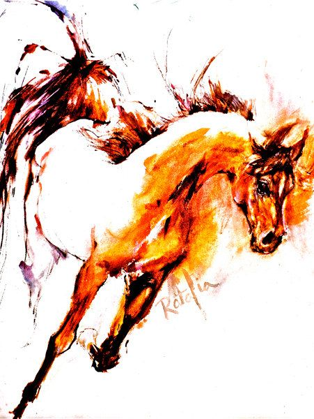Logo for Famous  Horse Show - Watercolor Horse Print SIGNED by the Artist Carol Ratafia DOUBLE MATTED to 16x20 via Etsy