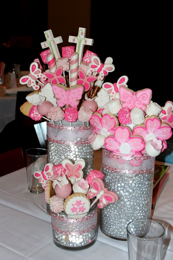 Communion centerpiece edible centerpieces pinterest for 1st communion decoration ideas