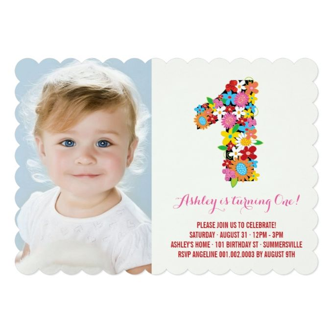 The 1400 best 1st birthday invitations images on pinterest 1st spring flowers one baby girl first birthday photo 5x7 paper invitation card filmwisefo