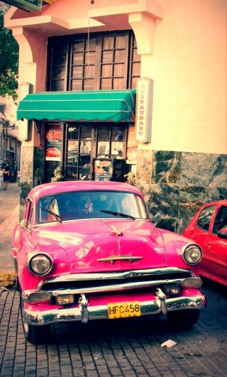 So awesomely fun! #pink #vintage #car My grandfather had this car.......only it was black!