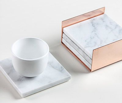 4 square carrara marble coasters copper nestmarble holdercopper home decor - Copper Home Decor