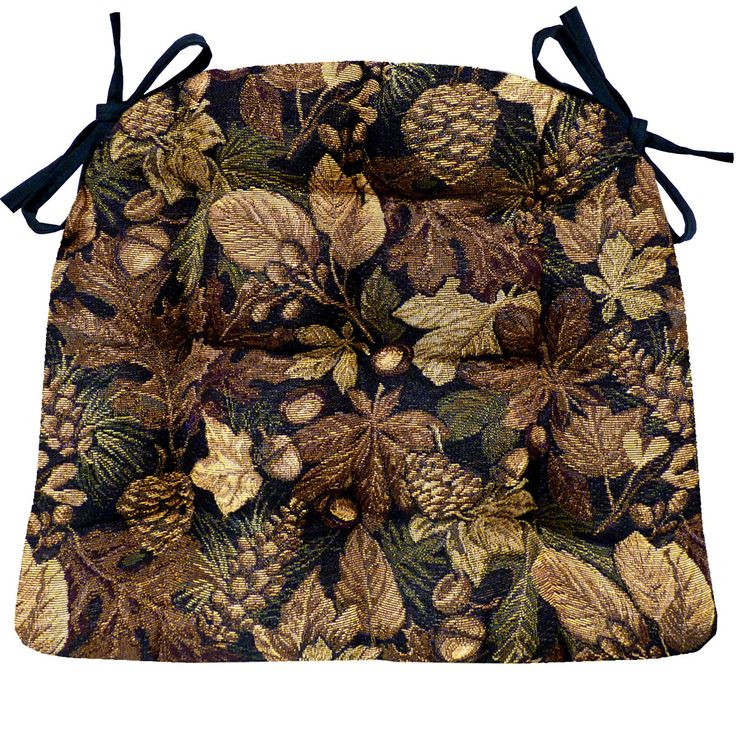 Woodlands Forest Floor extra-large seat pads are made in a tapestry fabric featuring a carpet of oak leaves, pine cones, acorns and chestnuts. Reverses to solid color black fabric.  #Rustic #nature