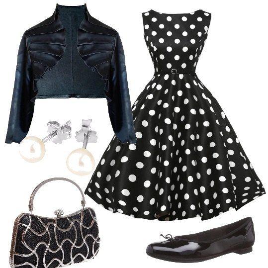 E' Ispirata alla moda degli anni '50 questa proposta che si compone di un vestito svasato a pois , da abbinare ad un bolero in raso e a delle ballerine con il fiocco. La borsa ha dei decori di lustrini e gli orecchini sono delle classiche perle.