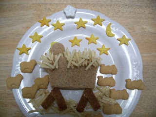 """Happy Birthday Jesus manger scene lunch; cute idea, but slightly concerned about kids """"eating"""" baby Jesus!"""