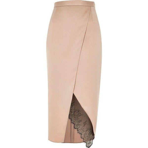 River Island Light pink lace hem wrap midi skirt (265 SAR) ❤ liked on Polyvore featuring skirts, midi skirts, pink, women, lacy skirt, light pink skirt, knee length lace skirt, calf length skirts and tall skirts