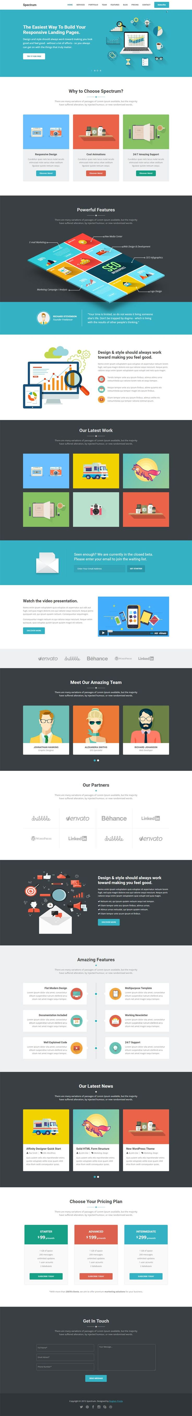 Modern, flat landing page template, best suitable to promote web apps, mobile apps and all kind of marketing and startup websites