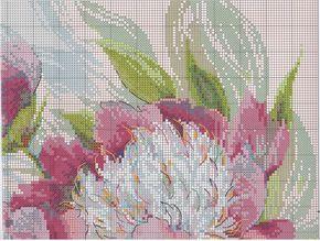 Вышивка крестом. цветы. Розовые пионы.Риолис3