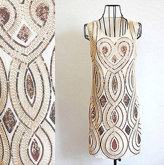 Grand Gatsby robe des années 1920 Charleston élégant clapet pailletés parti en mousseline de soie - taille M (AUS 10)
