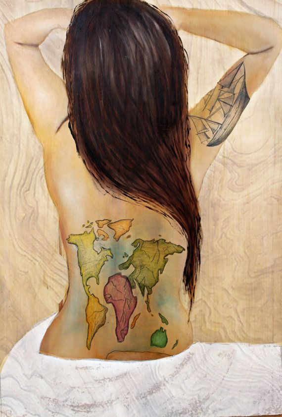 world traveler poster painting world map wooden ship tattoo oil on wood wood painting modern art