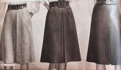 1940s Skirt History: 1940s Skirts with single pleat in the front #1940s #skirt #vintage