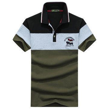 AFSJEEP Men's Fashion Striped Short Sleeve T-shirt Casual Splicing Color POLO Shirt at Banggood