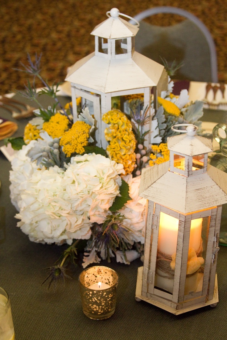 Lantern centerpiece rustic yellow and gray wedding