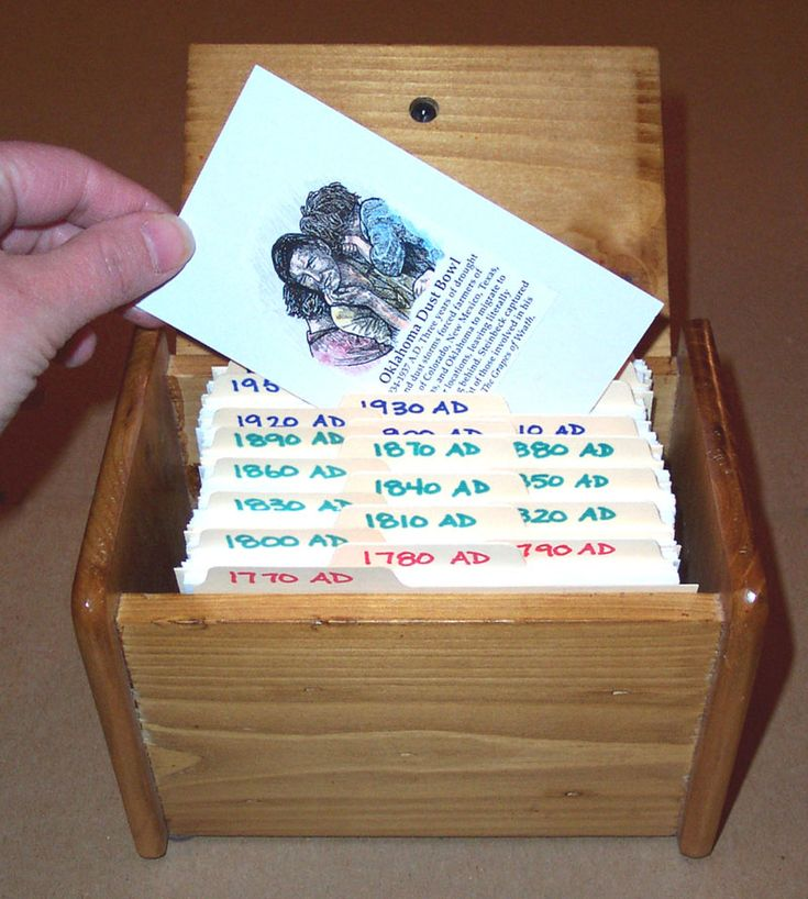 Index card file for timelines, space saving ideas for homeschool timelines