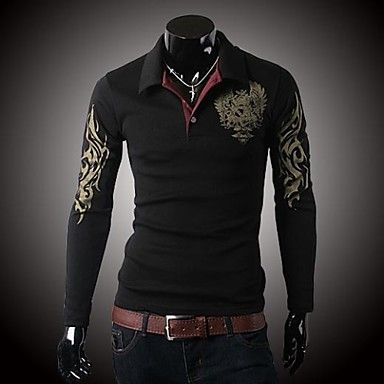 Mens Stylish Design Long Sleeve Polo Shirt (3 Colours). Only at www.pandadeals.co.uk