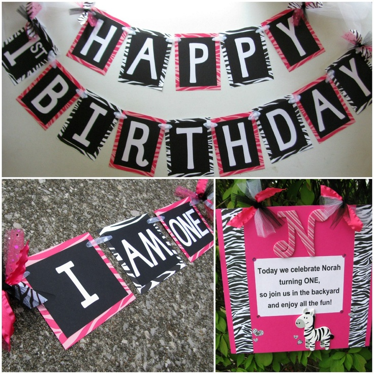Pink and black Zebra themed happy birthday decorations. By Banana Lala Party Designs on Etsy. http://www.etsy.com/shop/BananaLala