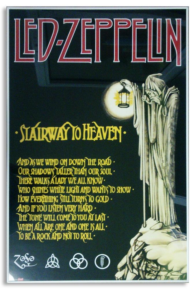 Led Zeppelin - Stairway to Heaven - Plakat oprawiony w szarą aluminiową ramę.