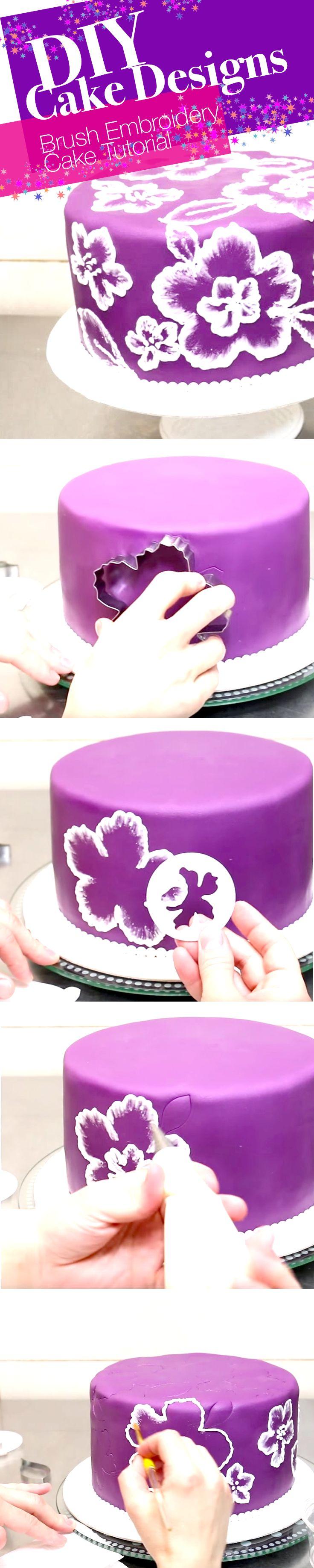 DIY Cake Designs: Brush Embroidery Cake Tutorial #cakedecoratingtutorials