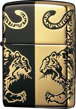 New ZIPPO Lighter Twin TIGER Matte Black x Gold Double side designed 2BKG-TIHF