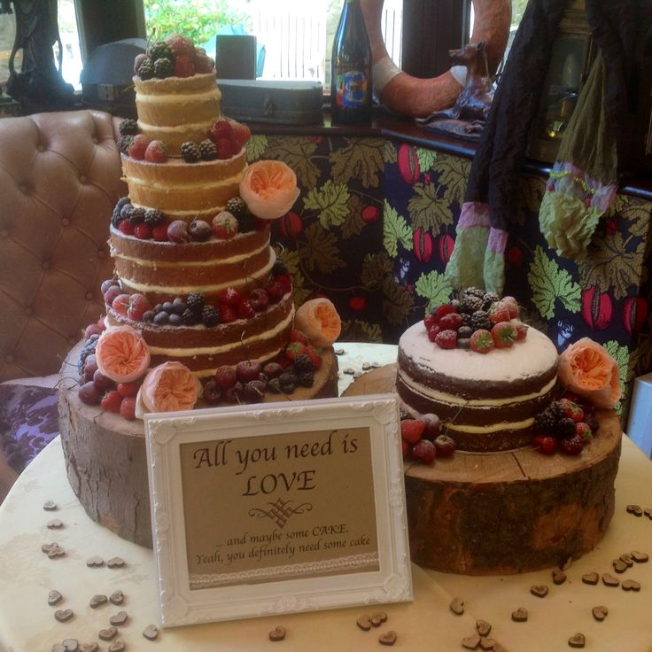"Four tier naked cake with additional 8"" round chocolate cake"