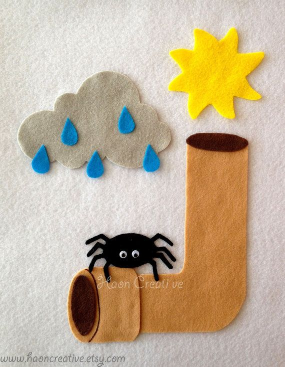 Bring the classic childrens song Itsy Bitsy Spider to life with this fun felt set!  Excellent for circle time or play at home  The Isty Bitsy Spider felt set includes: 1 spider 1 cloud with 5 raindrops attached 1 spout 1 sun  All pieces are hand cut.  Shipping Details:  ** For Canadian, US & Australian residents, FREE SHIPPING on the 2nd item for orders of two or more felt story sets **   To Canada takes: 1-2 weeks (Lettermail Service)  To the United States: takes 1-3 weeks. (Light Packet…