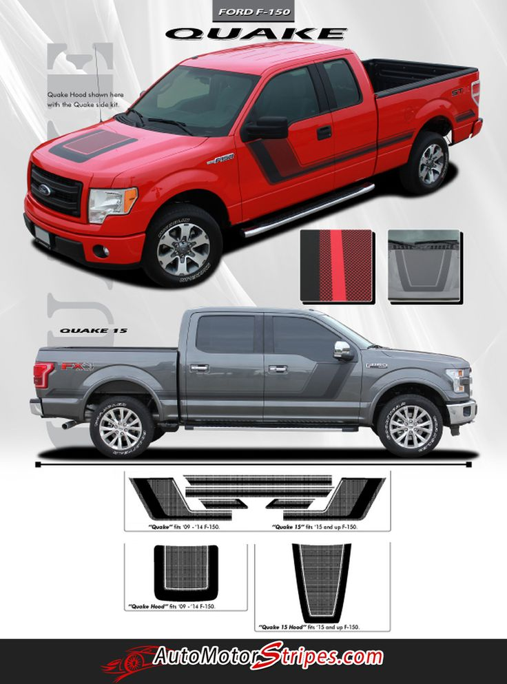 2009 2014 and 2015 2018 ford f 150 quake hood and sides combo factory tremor fx style hockey stick side vinyl decal graphic stripes