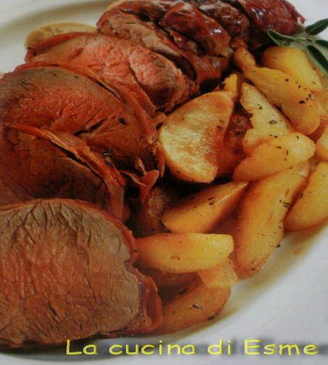 Ingredienti     900 gr di filetto di vitello   170 gr di prosciutto crudo dolce a fette   2 patate   1 scatola di lenticchie   brodo ...