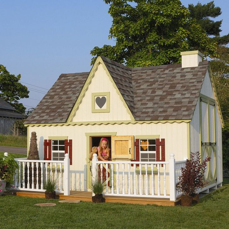 Any child would love this cottage style playhouse >> I would take this for myself and put it somewhere around the world! SO cute!