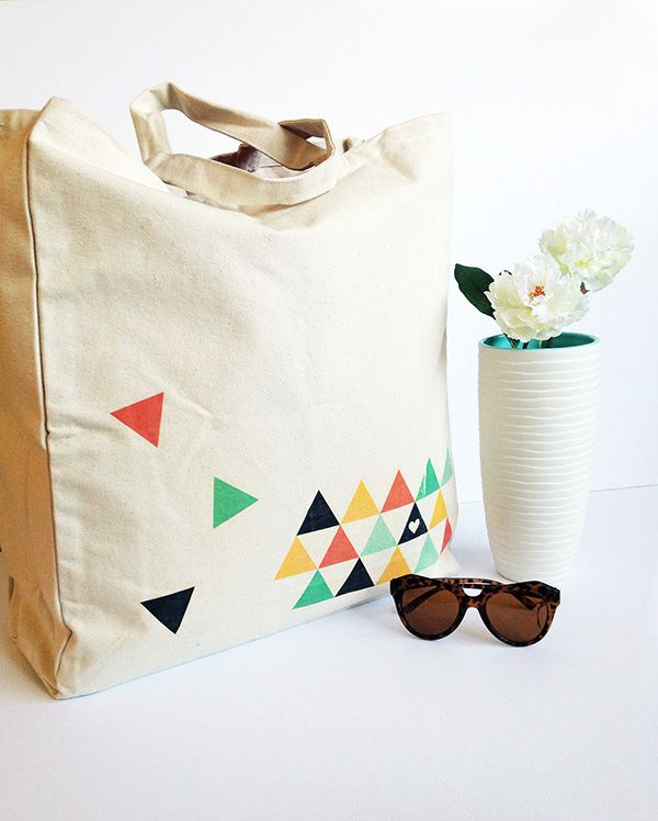 Tote bag with triangle iron-on transfers