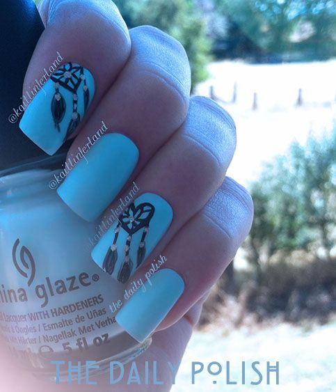 thedailypolish.com heart dream catcher nails