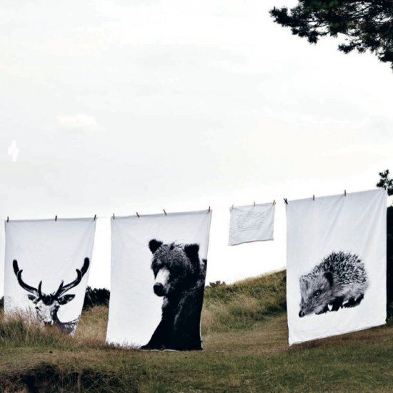 By Nord bedlinen / DIY IDEA: select image of animal, make black and white, print…