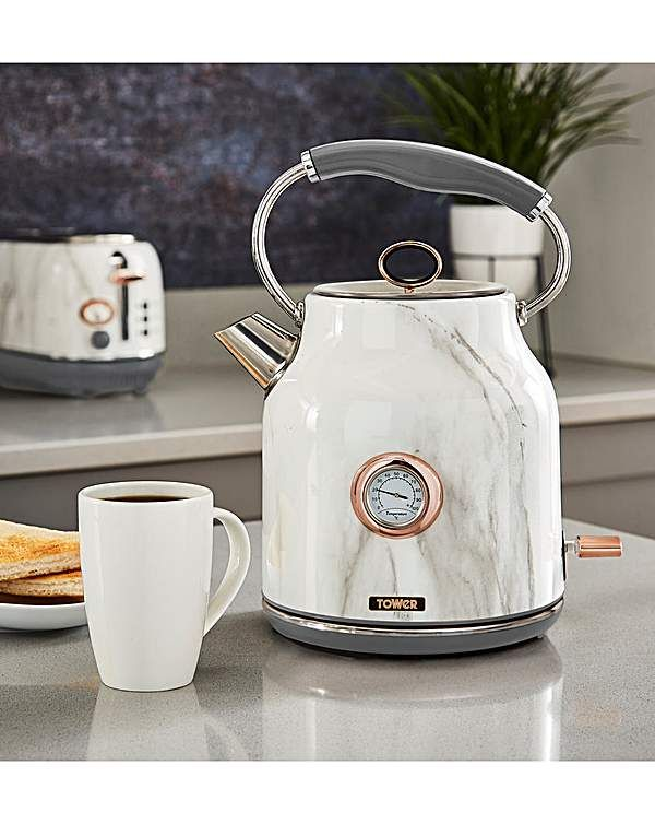 Tower Marble Effect Kettle Copper Kitchen Decor Rose Gold