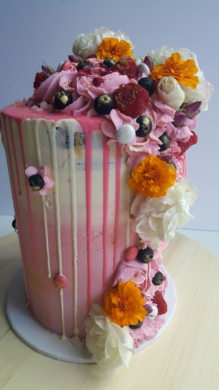Beautiful Mother's Day chocolate cake with raspberry and vanilla buttercream