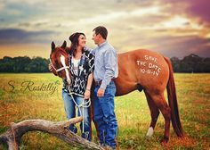Save the Date with horse / Engagement / Couples Photography