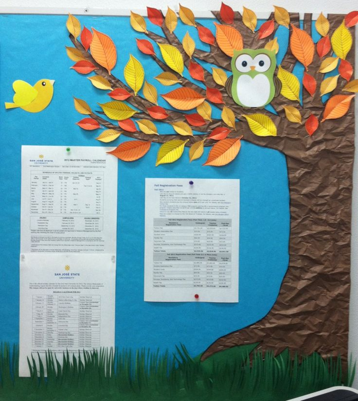 Fall bulletin board - crinkle brown butcher paper to simulate tree bark! Seek the unknown. Walk to dark forest? Teens pin up book they want to read next on leaf