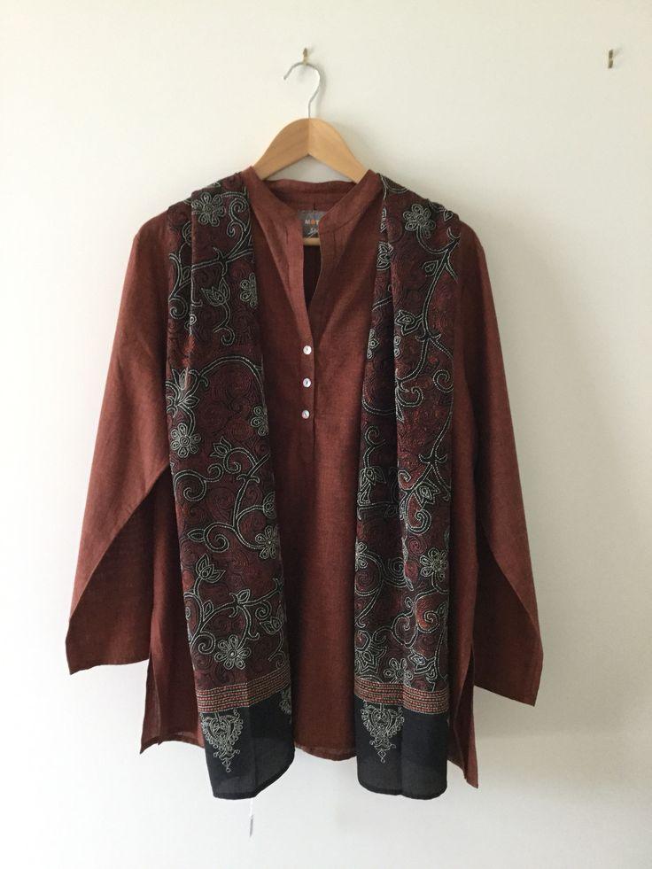 Mangalgiri shirt shown with beautiful silk Kantha embroidered scarf.
