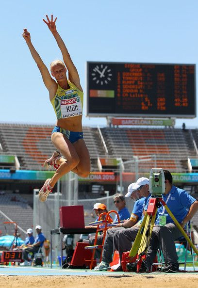 Carolina Kluft Photos - Carolina Kluft of Sweden competes in the Womens Long Jump Qualifying during day one of the 20th European Athletics Championships at the Olympic Stadium on July 27, 2010 in Barcelona, Spain. - 20th European Athletics Championships - Day One