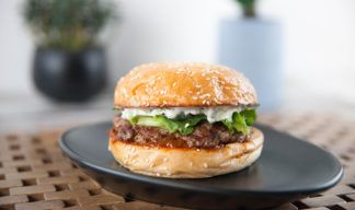 Lamb Burger with Mint Yoghurt & Pickled Cucumber