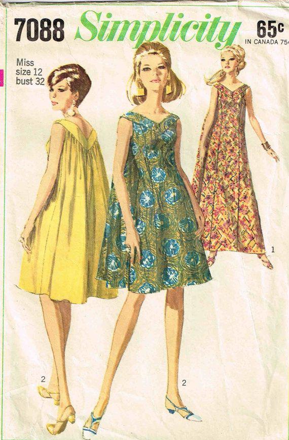 Simplicity 7088 Caftan MuuMuu Long Dress Vintage 1960s Sewing Pattern Size 12 Bust 32