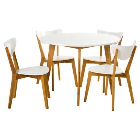 Homy comerdor lazio 4 sillas 105x75 cm natural y blanco for Sillas para comedor redondo
