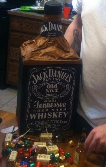 Jack Daniels piñata for my husband. Filled with mini jack ...