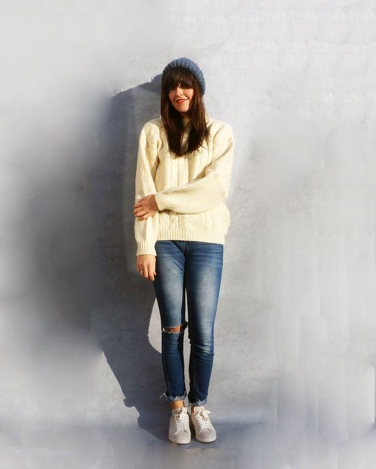 Cream Wool Sweater, Vintage Oversized Wool Jumper, 1980's Aran Pullover, Loose Sweater, Super Soft Warm Jumper, 80s Womens Knitwear, Vintage by AdasAtticVintage on Etsy https://www.etsy.com/uk/listing/513317551/cream-wool-sweater-vintage-oversized