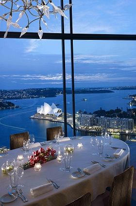 Australian dining with a view of the Opera House, Sydney, Australia.