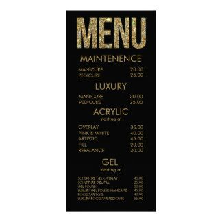 Black & Gold Glitter Typography Salon Menu Cards Personalized Rack Card