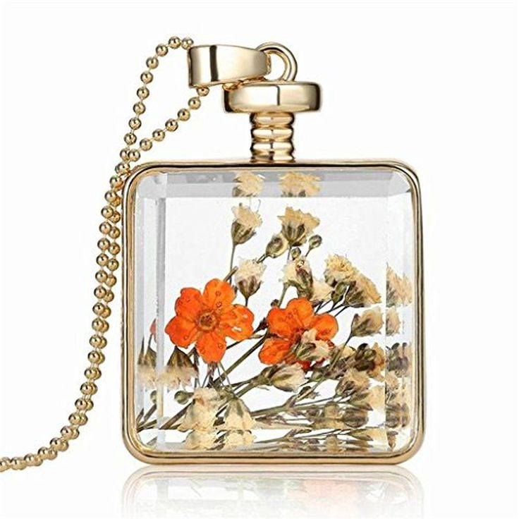 Dried Orange Flowers Herbarium In Transparent Quadrate Box Memory Locket Necklace for women - Brought to you by Avarsha.com