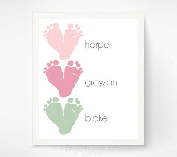 Gift for Grandma - Baby Footprint Art - Gift for New Grandparents New Dad Grandpa Baby Shower - Nursery Art