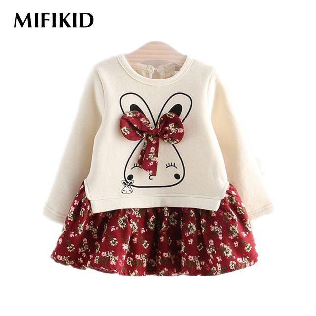 2016 мода осень зима 1 шт. мультфильм кролик девушок цветка платье с бантом детская одежда принцесса платья детская одежда