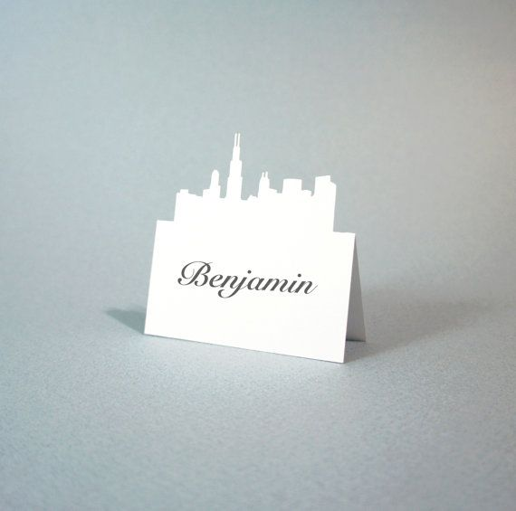 Chicago - Place Card - Wedding Place Cards - City Skyline - PlaceCard - Place Cards - Escort - Rustic Wedding - set of 100 on Etsy, $100.00