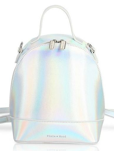 Cora Backpack Small - Holographic | A cute, mini pack that converts into a crossbody purse! Designed in Markham, Ontario and made of 100% vegan leather. #torontofashion #CanadianDesigners #canadianfashion #canadianfashionblogger #canadiandesigner #canadianbrands #veganleather #veganfashion #crueltyfree #pixiemood #pixiemoodbag #vegantotes #backpack #veganpurse #purse #convertiblebag #convertiblebackpack #crossbodybag #crossbodypurse #crossbodyshoulderbag #springfashion #torontostyle