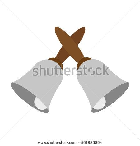 vector illustration of crossed hand bells icon